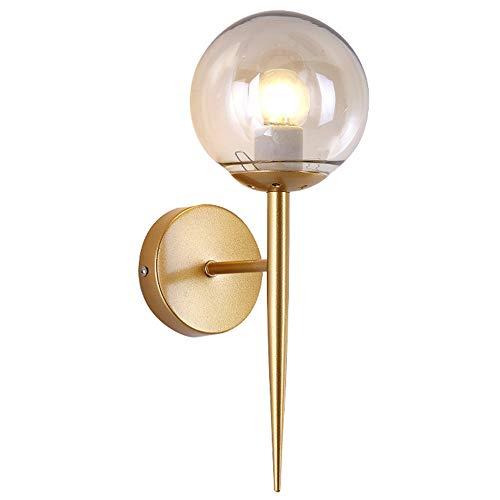 Nordische Moderne Glaswandlampe, Korridorinnenwandleuchte / E27-Lampe 220V / Metallglaslampenschirm/Durchmesser 13 * Höhe 34Cm (Einschließlich Birne),White