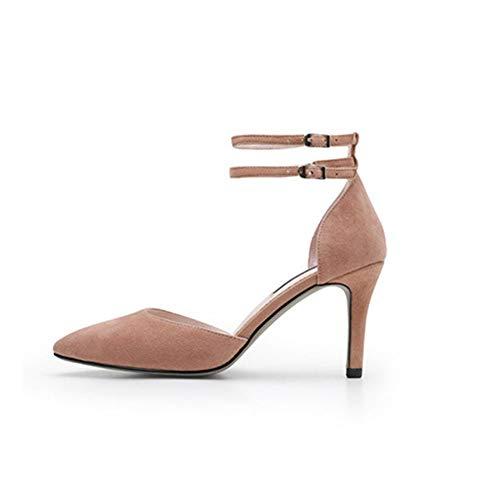 TIUTIU Vintage Mary Jane schoenen voor dames - suède pumps - zomer kant, hakschoenen (8 cm hoog)