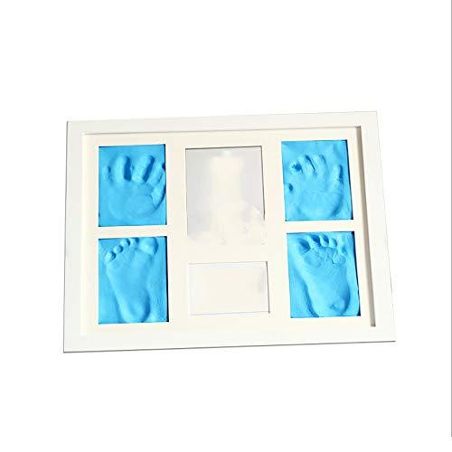 Bébé Cadre photo Bébé et Main Pied Imprimer boue Cadre bébé en bois massif avec couverture Cinq Grille Et Main Pied impr Mud Cadre Empreinte Bébé ( Color : White frame+blue mud , Size : 33x28x2cm )