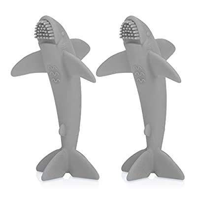 Nuby 100% All Silicone Shark Massager Toothbrush, 2 Pack, 3 M+, Colors May Vary, Multi (6878)