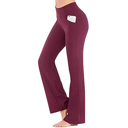 Las Mujeres Ocasionales Pantalones de Entrenamiento de Color elástico de Cintura Alta...