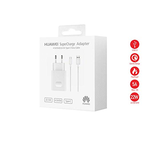 LAGE Chargeur Original Huawei AP81, Charge Rapide, Supercharge (5 A), Type C pour P10, P10 Plus, Mate 9, Mate 10 Pro, P20, P20 Pro
