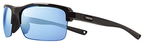 Revo Men's Polarized Sunglasses Crux N Wraparound 63 mm Wrap, Black Frame, Blue Water