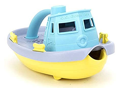 Green Toys Tugboat, Grey/Yellow/Turquoise Assorted - Pretend Play, Motor Skills, Kids Bath Toy Floating Pouring Vehicle. No BPA, phthalates, PVC. Dishwasher Safe, Recycled Plastic, Made in USA.