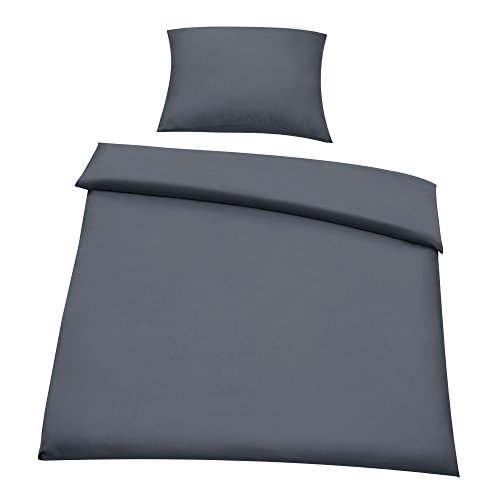 [neu.haus] Beddings Duvet cover 155x220 cm + Pillow case 80x80 cm Eco Tex tested Microfibre 100% Polyester Bed Set with Zipper Bedroom DARK GREY