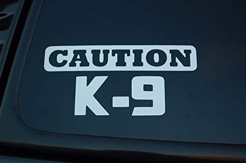Caution K-9 Dog Sticker Vinyl Decal Police Service Dog Car Window Choose Color & Size!! V331 (4' X 2', White)