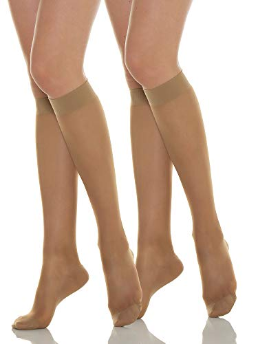 Relaxsan Basic 850 (2 Pares - Visón, tg.5) Medias a la rodilla 140 Den compresión graduada 18-22 mmHg