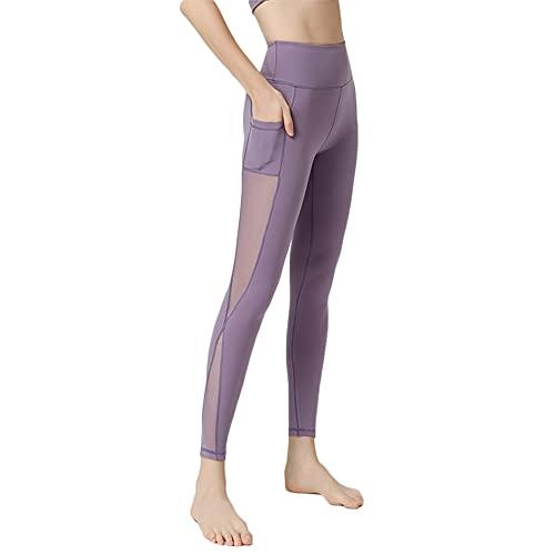 Mujer Naked Feeling Deportivos Largos Leggings Yoga Fitness Pantalon de Cintura Alta Transpirables con Cintura Alta con Bolsillos-L