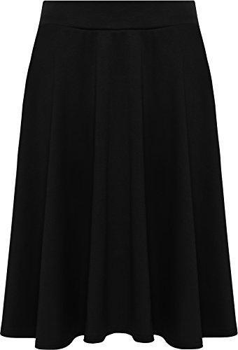 WearAll - Mujeres Tallas Grandes Llanura Abocinado Elásticos Corto Skater Falda - Negro - 50-52