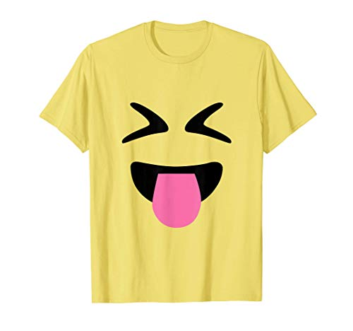 Tongue Out Closed Eyes Emoji Face Halloween Costume T-Shirt