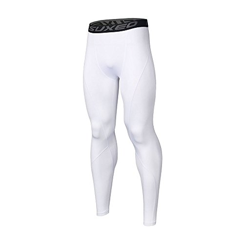 Calça legging masculina ARSUXEO de compressão para corrida, camada base K3, Branco, Medium