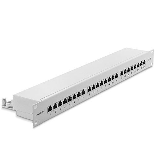 deleyCON CAT 6 Patchpanel Verteilerfeld 24 Port - Desktop 19 Zoll Rackeinbau Servermontage - RJ45 - Geschirmt - TIA568A TIA568B RAL 7035 Lichtgrau