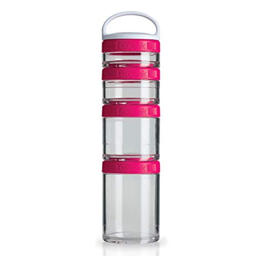 BlenderBottle GoStak Twist n' Lock Storage Jars, 4-Piece Starter Pak, Pink
