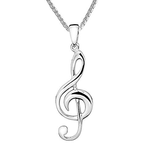 Paul Wright 925 Sterling Silver Treble Clef Pendant Necklace, 41cm plus 5cm Extender