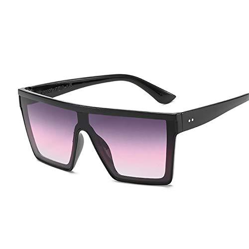 NJJX Gafas De Sol Cuadradas De Gran Tamaño Negras De Lujo Para Mujer, Gafas De Sol De Estilo Vintage A La Moda, Montura Grande Para Mujer, Púrpura Y Rosa