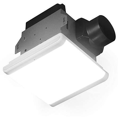 Homewerks Worldwide 7146-80-MS Bathroom Fan Integrated Dimmable LED Light Humidity Sensor Exhaust Ventilation 1.5 Sones 80 CFM, Smart Motion White