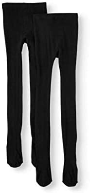 2 Pack Girls Cotton Black Tights (Medium 7/10)