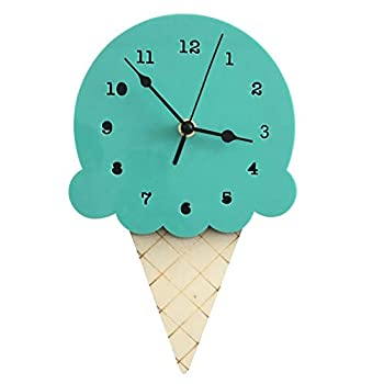 Adarl Cute Ice-Cream Wall Clocks Battery Operated for Kids Bedrooms,Basswood Wall Clock Non Ticking  11 x6   Green