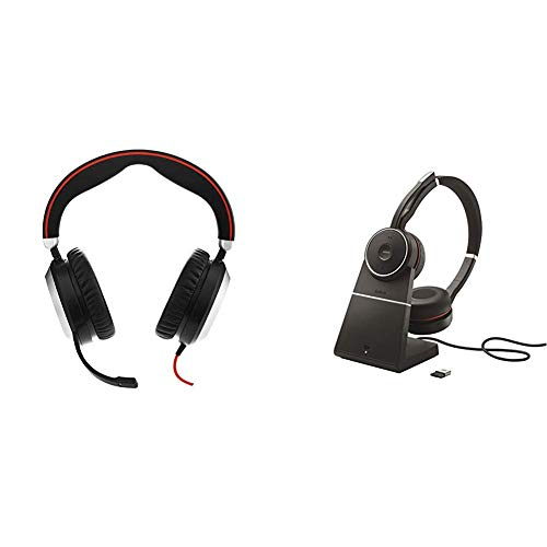 Jabra Evolve 80 - Professional Stereo Noise Cancelling Wired Headset/Music Headphones - MS Bundle with Jabra Evolve 75 Stereo UC, Charging Stand & Link 370