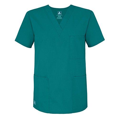 Adar Universal Unisex Scrubs - V-Neck Tunic Scrub Top - 601 - Teal Blue - L
