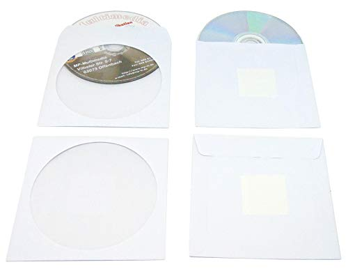200 CD Hüllen zum Einkleben aus 90g Papier Weiß, Premium CD Papierhüllen mit Folienfenster, Lasche Selbstklebend und Rückseitige Klebepunkt