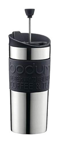 Bodum K11067-01 Travel Press Set - Vaso térmico de Acero Inoxidable con pistón, Incluye Tapa Extra (0,35 l), Color Negro
