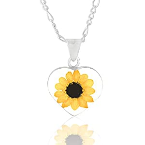 Sterling Silver Heart Pendant/Necklace -Tami, Floral Jewelry- with Natural Sunflower (Symbol of Happiness and Light) and…