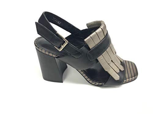 Bruno Premi R2404P Sandales pour femme en cuir noir + or - Noir - Noir , 39 EU EU