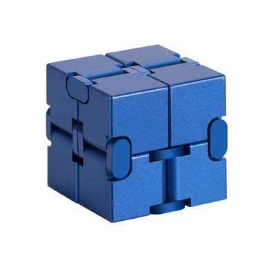 JYT Creative Unlimited Infinite Square Magic Cube Infinity Cube Decompression Infinite Magic Cube Aluminum Decompression Toy Gift for Kids Adult,Blue