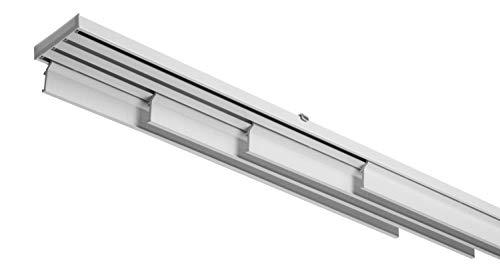 Schienensystem für Gardinenstange, komplett aus Aluminium, weiß, mit Seilzug, 4 Paneele, verschiedene Größen (200 cm)
