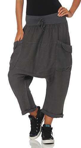 Malito Mujer Harem Pantalones Lino Pantalones Bloomers Capri Colores Lisos 6285 (Gris Oscuro)