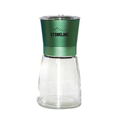 STONELINE Salz-/ Pfeffermühle, Gewürzmühle, grüner Deckel, mit verstellbarem Keramikmahlwerk Küchenhelfer, Glas, 6.5 cm
