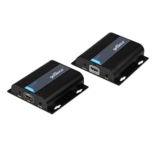 gofanco 1080p HDMI Extender Over IP Kit - 1 to Many Over Gigabit Network Switch or Single Cat5e / Cat6 Ethernet Cable, IR Control Extension - Up to 395 feet (120m) Full HD HDbitT Balun (HDBitTExt)