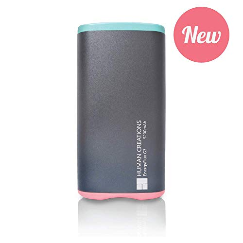 Human Creations EnergyFlux G3 Rechargeable Hand Warmer - Electric Hand Warmer with Powerbank - Wrap-Around Hot Pocket Warmer - Warm Hands for Men and Women (Turquoise-Pink, 5200mAh)
