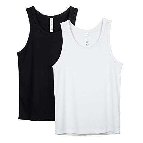 icyzone Débardeurs d'entraînement pour Homme de Sport T-Shirt sans Manches Jogging Musculation Tank Top,Lot de 2 (M, Noire/Blanc)