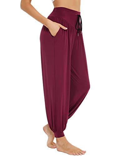 Sykooria Pantalon Sarouel Femme pour Pilate Hippie Yoga Fitness Danse Sport Taille Haute Bouffant Pants,Vin Rouge,S