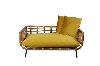 animal-design Canapé moderne en rotin avec coussin pour chien et chat - Avec housse en velours - Couleur : moutarde
