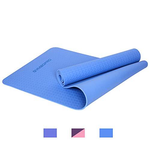 GYMBOPRO Tapis de Yoga, Tapis Gymnastique Conçu pour Le Yoga (Hatha, Nidra, Traditionnel, Pilates, Restauratif, Pré-Natal) (Bleu)