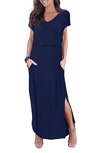 Smallshow Women's Maternity Nursing Dresses Split Long Dress for Breastfeeding Medium Dark Blue
