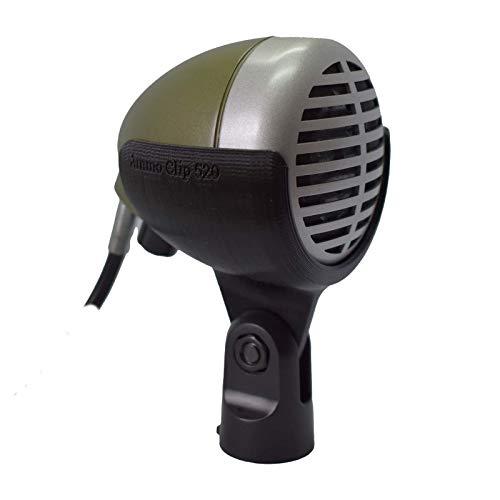 "Ammo Clip 520 - Bullet Mic Holder for Shure 520""Green Bullet"", Superlux D112C, Peavey H-5C""CherryBomb"" & Digital Reference""Red Howler"" Harmonica Microphones (Natural Black)"