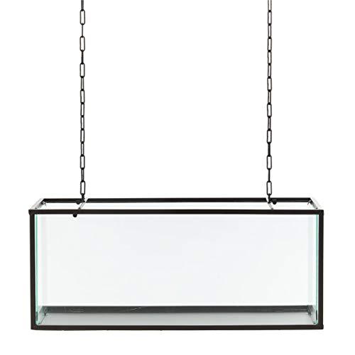 Pureday Dekoobjekt Vitrine zum Hängen - Glas Metall - Schwarz - ca. B58 x T22 x H24 cm