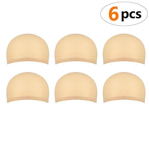 6 Stück Haarnetz für Perücken für Frauen und Männer, Nylon Perückenkappen aus Dehnbarem und Dünnem Strumpfstoff, geschlossenem Ende, Einheitsgröße (Naturbeige)