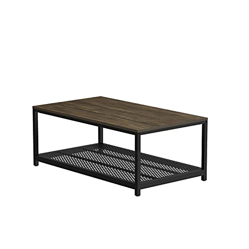 SMAGREHO Industrial Coffee Table with with Storage Shelf and Storage Baskets,Wood Look Accent Furniture with Metal Frame,Easy Assembly, for Living Room, Dining Room Bedroom, Driftwood