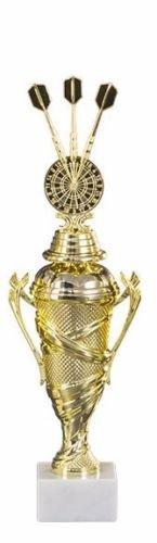 RaRu Dart-Pokal (Verschiedene Figuren zur Auswahl) mit Wunschgravur und 3 Dart-Anstecknadeln (Sticker) (Mit 3er-Dartpfeil-Figur)
