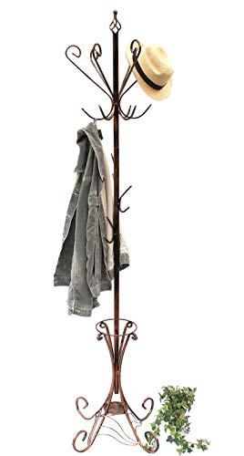 DanDiBo Kleiderständer Metall 210 cm Art.156 Garderobe Garderobenständer Antik Schirmständer Eisen Kleiderständer (Kupfer Schwarz Antik)