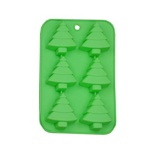GHJUU Molde de silicona para 6 cavidades de árbol de Navidad para tartas, dulces, galletas, chocolate, gelatina, jabón, cubitos de hielo