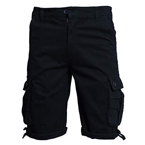 Allthemen Herren Kurz Cargohose Chino Shorts mit Mehr Taschen Freizeit Kurzhose Schwarz XX-Large
