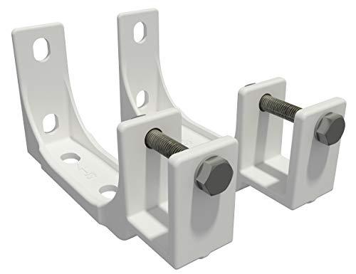 Vana deutschland GmbH Decken und Wandhalterung mit Befetigung Markise Kombihalterung 40mm Weiss/Grau SPP059 (2 Stücke, Weiß (Stahl))