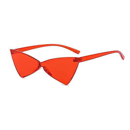 WQZYY&ASDCD Gafas de Sol Gafas De Sol De Una Pieza para Mujer, Hombre, Ojo De Gato, Gafas De Sol para Mujer, Gafas con Montura De Tonos Sólidos, Rojo