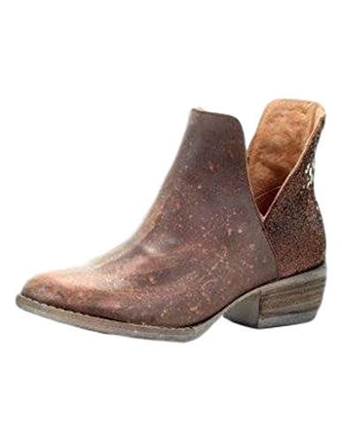 CORRAL Women's Copper Cutout Fashion Booties Round Toe Brown 10 M